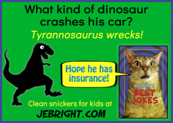 Bernie's Best Jokes by J. E. Bright meme: dinosaur crashes car