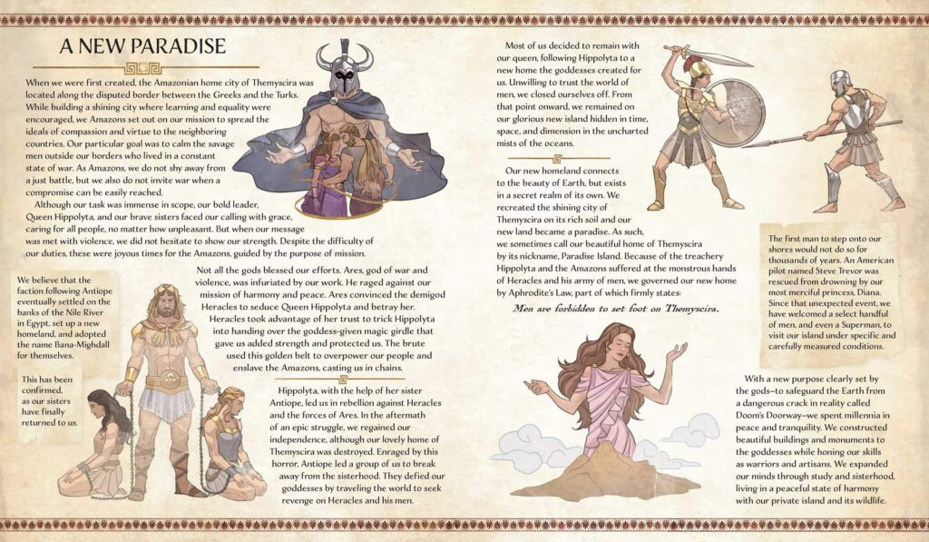 History of Themyscira interior spread from Wonder Woman: The Way of the Amazons by J. E. Bright.