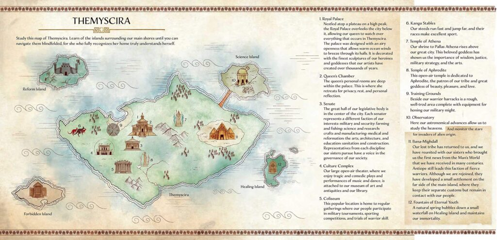 Map of Themyscira interior spread from Wonder Woman: The Way of the Amazons by J. E. Bright.